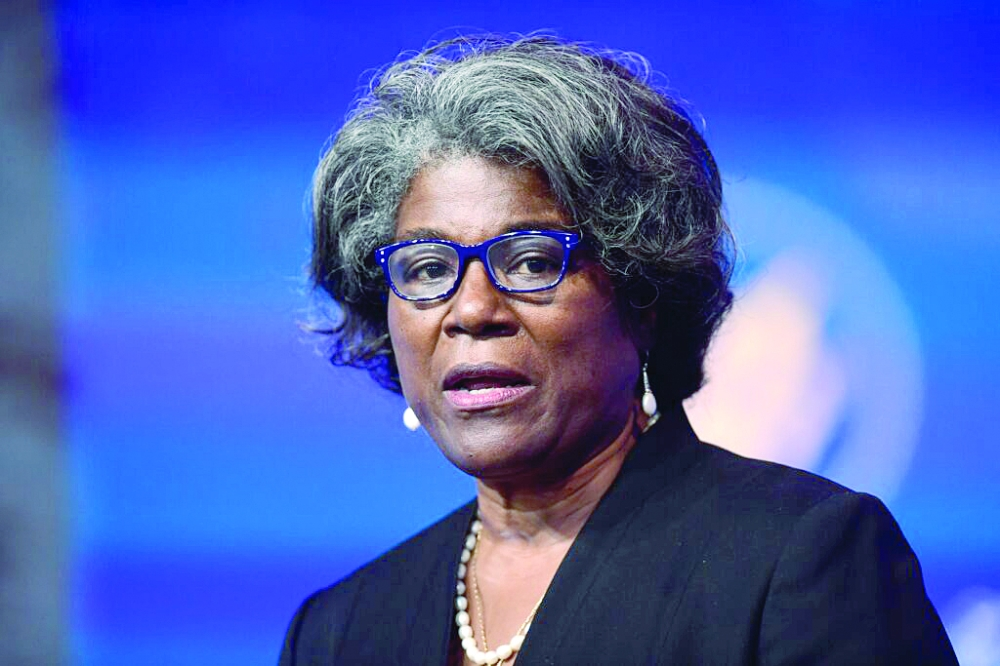WILMINGTON, DE – NOVEMBER 24:  U.S. Ambassador to the United Nations nominee Linda Thomas-Greenfield speaks after being introduced by President-elect Joe Biden as he introduces key foreign policy and national security nominees and appointments at the Queen Theatre on November 24, 2020 in Wilmington, Delaware.As President-elect Biden waits to receive official national security briefings, he is announcing the names of top members of his national security team to the public. Calls continue for President Trump to concede the election as the transition proceeds. (Photo by Mark Makela/Getty Images)